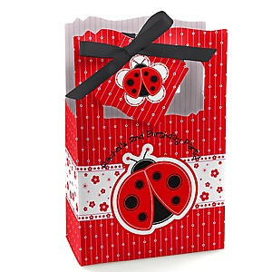 Modern Ladybug - Personalized Birthday Party Favor Boxes - Set of 12
