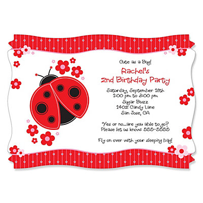 Modern Ladybug Personalized Birthday Party Invitations