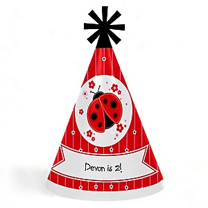 Happy Little Ladybug - Personalized Cone Happy Birthday Party Hats for Kids and Adults - Set of 8 (Standard Size)
