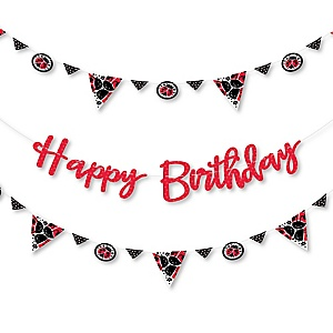 Happy Little Ladybug -  Birthday Party Letter Banner Decoration - 36 Banner Cutouts and Happy Birthday Banner Letters
