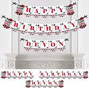 Happy Little Ladybug - Personalized Birthday Party Bunting Banner & Decorations
