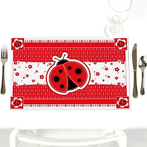 Modern Ladybug - Party Table Decorations - Baby Shower or Birthday Party Placemats - Set of 12