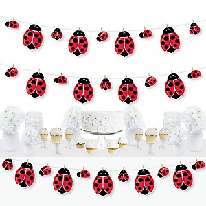 Happy Little Ladybug - Baby Shower or Birthday Party DIY Decorations - Clothespin Garland Banner - 44 Pieces