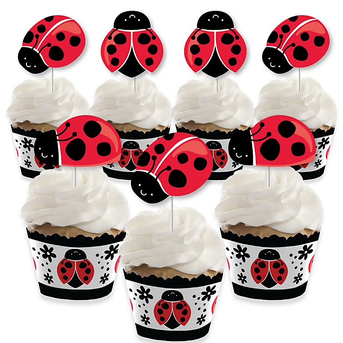 Happy Little Ladybug - Cupcake Decoration - Baby Shower or Birthday Party Cupcake Wrappers and Treat Picks Kit - Set of 24