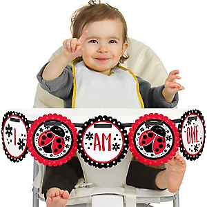 Happy Little Ladybug 1st Birthday - I am One - First Birthday High Chair Banner