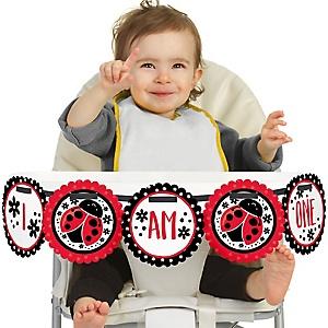 Happy Little Ladybug 1st Birthday - I am One - First Birthday High Chair Banner