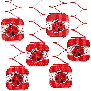 Modern Ladybug - Baby Shower Hanging Decorations - 6 ct