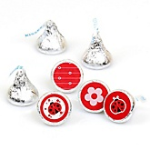 Modern Ladybug - Round Candy Labels Party Favors - Fits Hershey's Kisses - 108 ct
