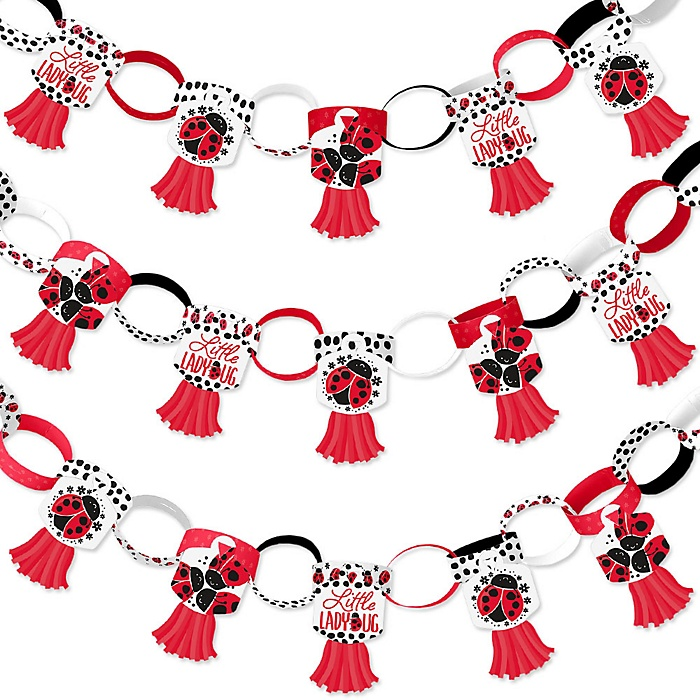 Happy Little Ladybug - 90 Chain Links and 30 Paper Tassels Decoration Kit - Baby Shower or Birthday Party Paper Chains Garland - 21 feet