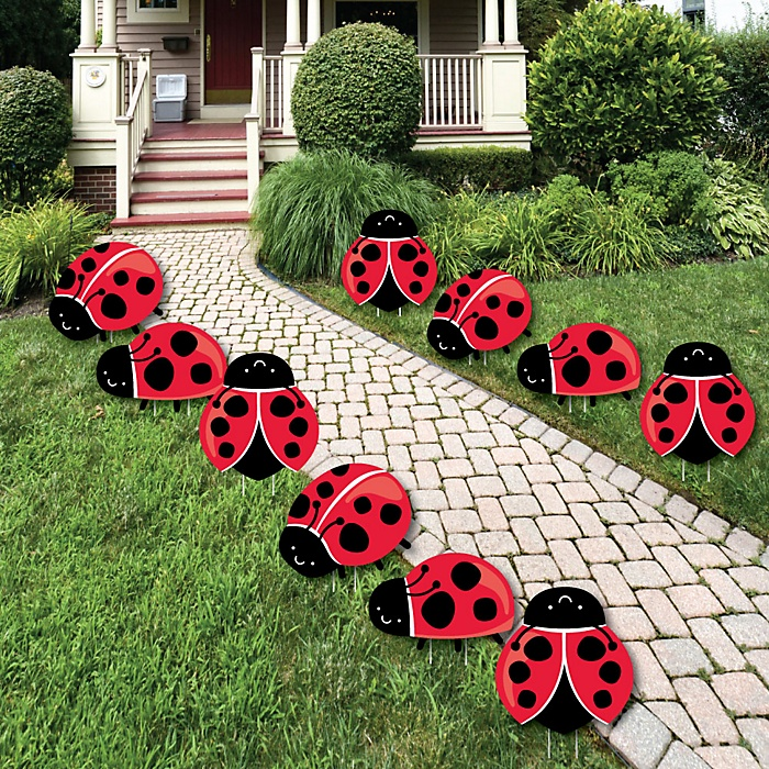 Happy Little Ladybug - Lawn Decorations - Outdoor Baby Shower or Birthday Party Yard Decorations - 10 Piece