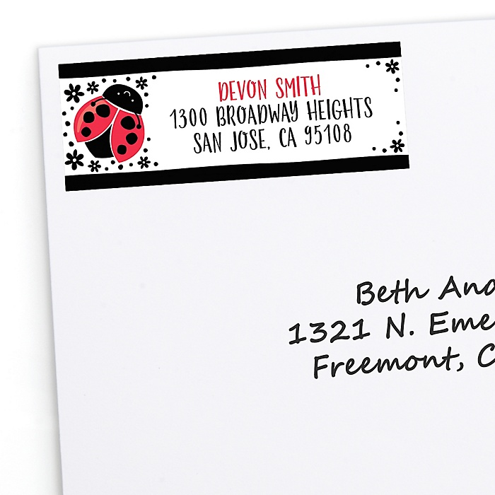 Happy Little Ladybug - Personalized Baby Shower or Birthday Party Return Address Labels - 30 ct