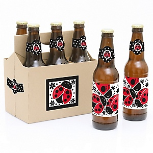 Happy Little Ladybug - Decorations for Women and Men - 6  Birthday Party Beer Bottle Label Stickers and 1 Carrier