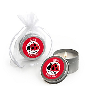 Happy Little Ladybug - Personalized Baby Shower or Birthday Party Candle Tin Favors - Set of 12