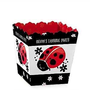 Happy Little Ladybug - Party Mini Favor Boxes - Personalized Baby Shower or Birthday Party Treat Candy Boxes - Set of 12