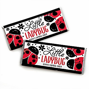 Happy Little Ladybug - Personalized Candy Bar Wrapper Baby Shower or Birthday Party Favors - Set of 24