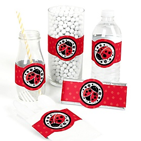 Happy Little Ladybug - DIY Party Supplies - Baby Shower or Birthday Party DIY Wrapper Favors and Decorations - Set of 15