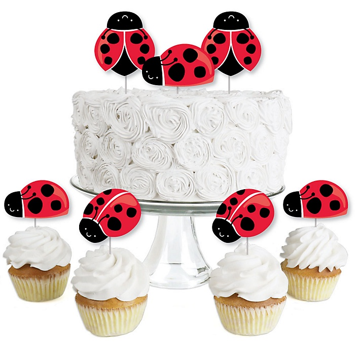 Happy Little Ladybug - Dessert Cupcake Toppers - Baby Shower or Birthday Party Clear Treat Picks - Set of 24