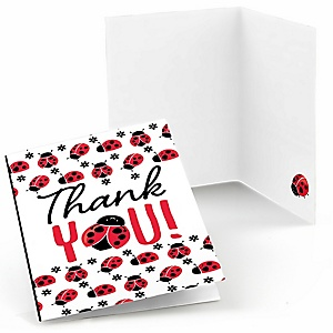 Happy Little Ladybug - Baby Shower or Birthday Party Thank You Cards - 8 ct