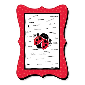 Happy Little Ladybug - Unique Alternative Guest Book - Baby Shower or Birthday Party Signature Mat
