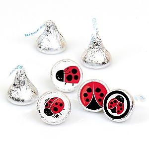 Happy Little Ladybug - Round Candy Labels Party Favors - Fits Hershey's Kisses - 108 ct