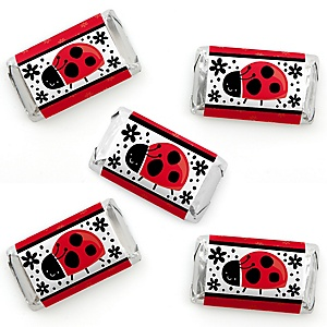Happy Little Ladybug - Mini Candy Bar Wrapper Stickers - Baby Shower or Birthday Party Small Favors - 40 Count