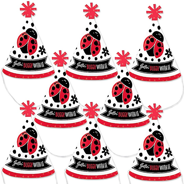 Happy Little Ladybug - Mini Cone Baby Shower or Birthday Party Hats - Small Little Party Hats - Set of 8