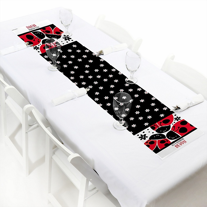 Happy Little Ladybug - Personalized Party Petite Table Runner