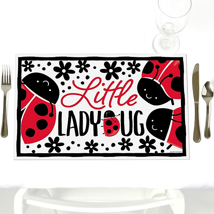 Happy Little Ladybug - Party Table Decorations - Baby Shower or Birthday Party Placemats - Set of 12