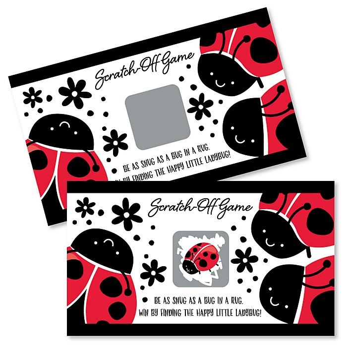 Happy Little Ladybug - Baby Shower or Birthday Party Game Scratch Off Cards - 22 ct