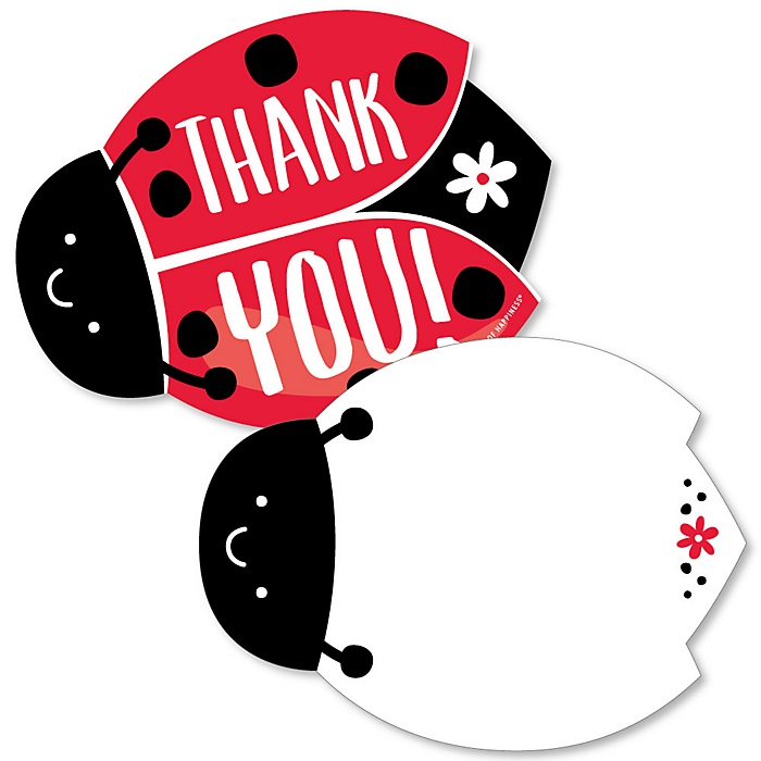Happy Little Ladybug - Shaped Thank You Cards -  Baby Shower or Birthday Party Thank You Note Cards with Envelopes - Set of 12