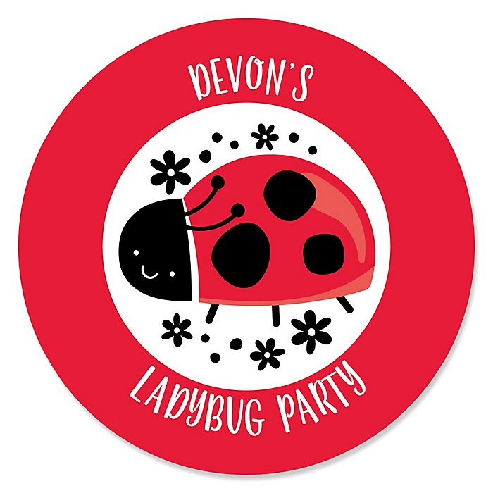 Happy Little Ladybug - Personalized Baby Shower or Birthday Party Sticker Labels - 24 ct
