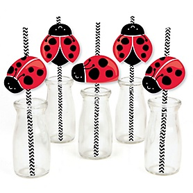 Happy Little Ladybug - Paper Straw Decor - Baby Shower or Birthday Party Striped Decorative Straws - Set of 24