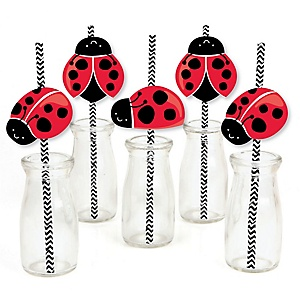 Happy Little Ladybug - Paper Straw Decor - Baby Shower or Birthday Party Striped Decorative Straws - Set of 24
