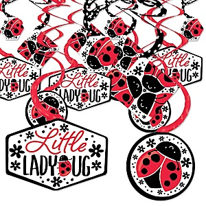 Happy Little Ladybug -  Baby Shower or Birthday Party Hanging Decor - Party Decoration Swirls - Set of 40