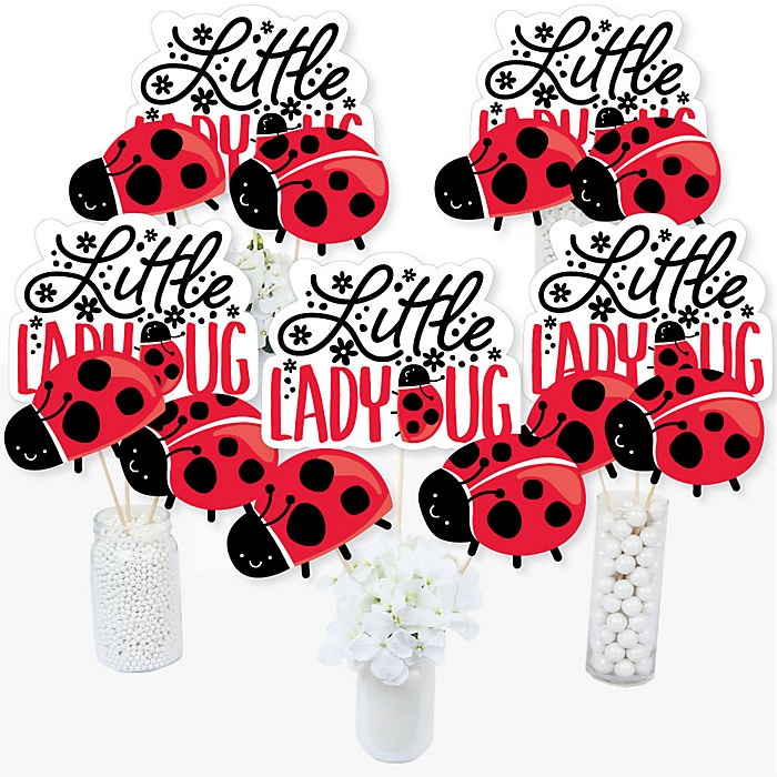 Happy Little Ladybug -  Baby Shower or Birthday Party Centerpiece Sticks - Table Toppers - Set of 15