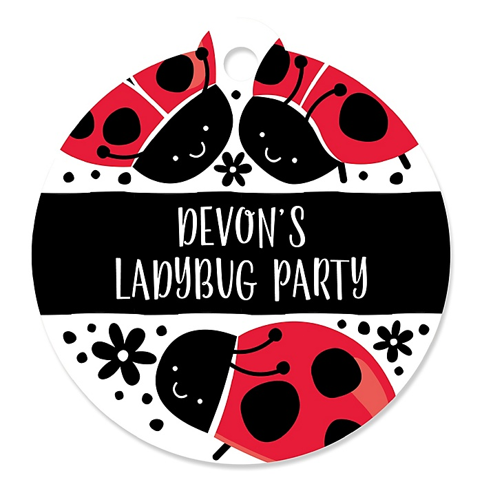 Happy Little Ladybug - Round Personalized Party Favor Gift Tags - 20 ct