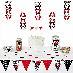 Modern Ladybug -  Triangle Party Decoration Kit - 72 Piece