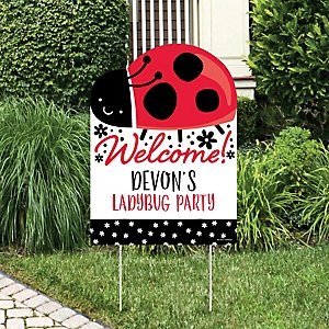 Happy Little Ladybug - Party Decorations -  Baby Shower or Birthday Party Personalized Welcome Yard Sign
