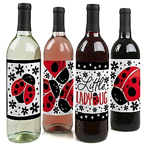 Happy Little Ladybug - Baby Shower or Birthday Party Decorations for Women and Men - Wine Bottle Label Stickers - Set of 4
