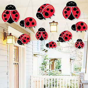 Hanging Happy Little Ladybug - Outdoor  Baby Shower or Birthday Party Hanging Porch and Tree Yard Decorations - 10 Pieces