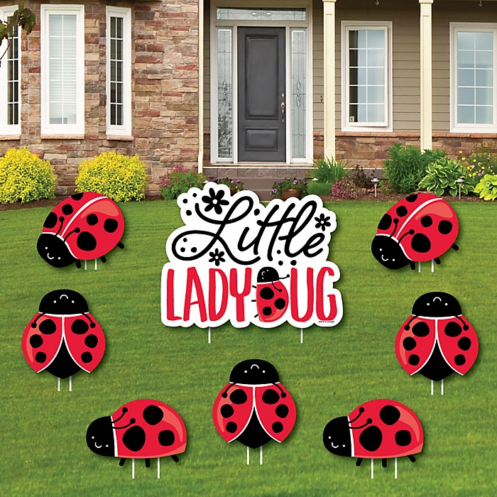 Happy Little Ladybug - Yard Sign and Outdoor Lawn Decorations -  Baby Shower or Birthday Party Yard Signs - Set of 8