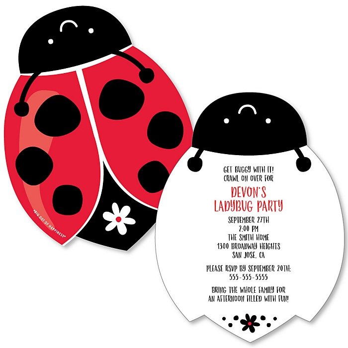 Happy Little Ladybug - Shaped Baby Shower or Birthday Party Invitations - Set of 12