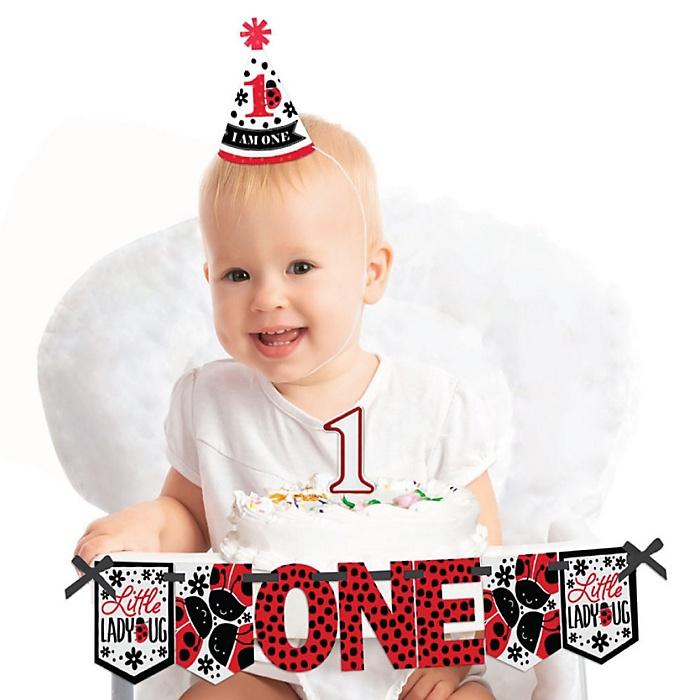 Happy Little Ladybug 1st Birthday - First Birthday Girl Smash Cake Decorating Kit - High Chair Decorations