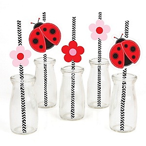 Modern Ladybug - Paper Straw Decor - Baby Shower or Birthday Party Striped Decorative Straws - Set of 24