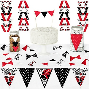 Happy Little Ladybug - DIY Pennant Banner Decorations - Baby Shower or Birthday Party Triangle Kit - 99 Pieces