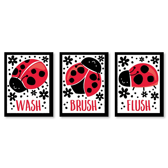 Happy Little Ladybug - Kids Bathroom Rules Wall Art - 7.5 x 10 inches - Set of 3 Signs - Wash, Brush, Flush