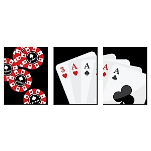 Las Vegas - Casino Wall Art Decor and Poker Game Room Home Decorations - 7.5 x 10 inches - Set of 3 Prints