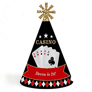 Las Vegas - Personalized Casino Cone Birthday Party Hats for Kids and Adults - Set of 8 (Standard Size)