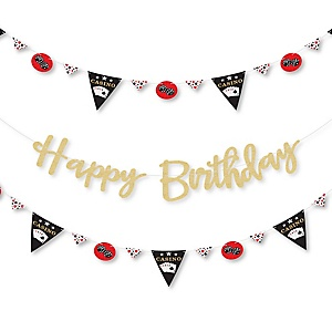 Las Vegas - Casino Birthday Party Letter Banner Decoration - 36 Banner Cutouts and No-Mess Real Gold Glitter Happy Birthday Banner Letters