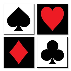 Las Vegas - Casino Home Decor - 11 x 11 inches Wall Art - Set of 4 Prints for a Game Room